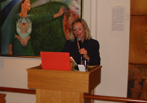 Pat Fulmer speaking at the Karpeles Museum during her show